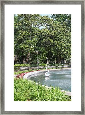 Forsyth Park Fountain With Swan And Magnolias Framed Print by Carol Groenen
