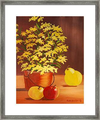 Forsythia Flowers And Fruit Sold Framed Print by Ruth  Housley