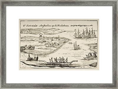 Fort And Settlement Of New Amsterdam On Framed Print by Vintage Design Pics