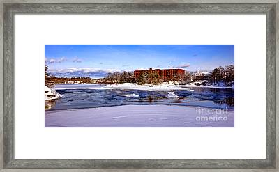 Fort Andross Mill And Androscoggin River In Winter  Framed Print