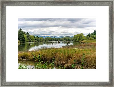 Framed Print featuring the photograph fort Clatsop on the Columbia River by Michael Hope