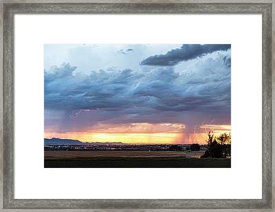 Fort Collins Colorado Sunset Lightning Storm Framed Print