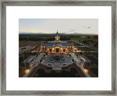 Fort Collins Glow    Lds Temple Framed Print by David Zinkand