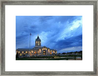 Fort Collins Lds Temple Blue Clouds Framed Print by David Zinkand