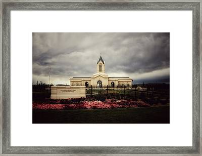 Fort Collins Lds Temple East Side Framed Print by David Zinkand