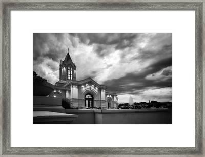 Fort Collins Lds Temple Se Corner Bw Framed Print by David Zinkand
