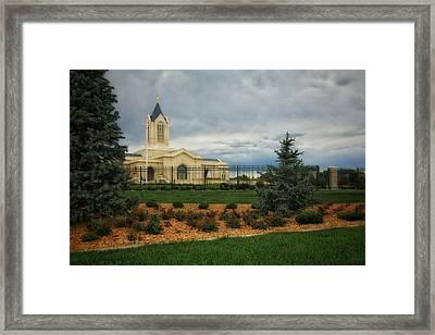 Fort Collins Lds Temple Se Landscape Side Framed Print by David Zinkand