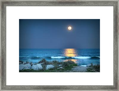 Fort Fisher Moonbeam Framed Print by Phil Mancuso