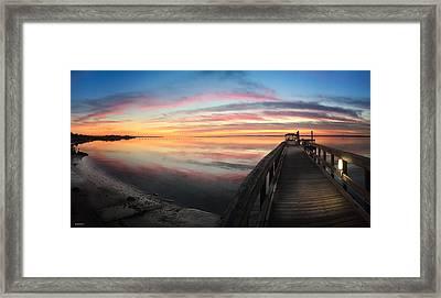 Fort Fisher Sunset Reverie With Heron Framed Print