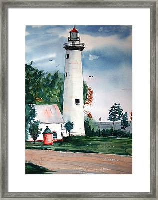 Fort Gratiot Lighthouse Michigan Framed Print by Larry Hamilton