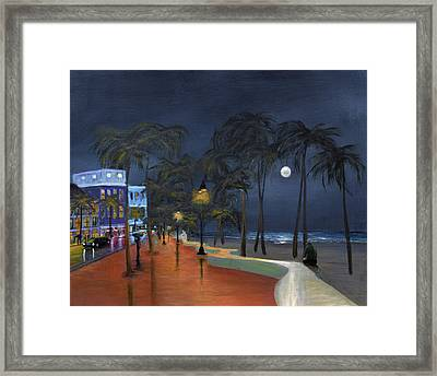 Fort Lauderdale Beach At Night Framed Print