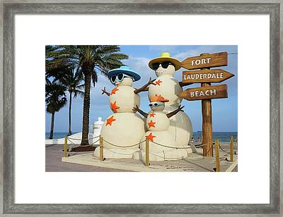 Fort Lauderdale Snowman Framed Print by Jason Pepe