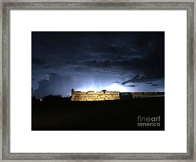 Lightening At Castillo De San Marco Framed Print