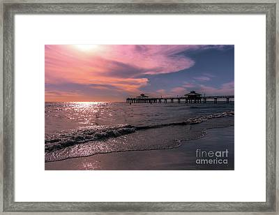 Fort Meyers Beach And Pier Framed Print