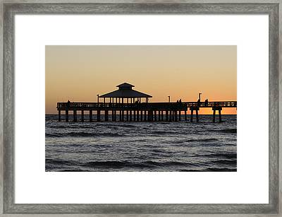 Fort Myers Beach Pier Sunset Framed Print