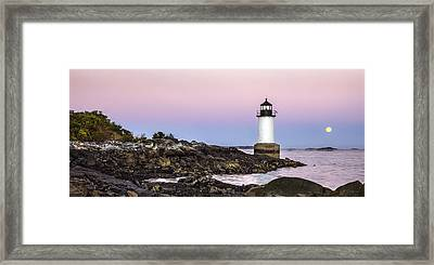 Fort Pickering Lighthouse, Harvest Supermoon, Salem, Ma Framed Print by Betty Denise