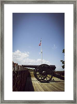 Fort Pulaski Cannon And Flag Framed Print