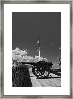 Fort Pulaski Cannon And Flag In Black And White Framed Print