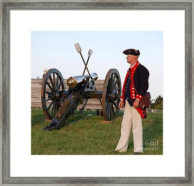 Fort Stanwix Cannon Ready Framed Print by Diane E Berry