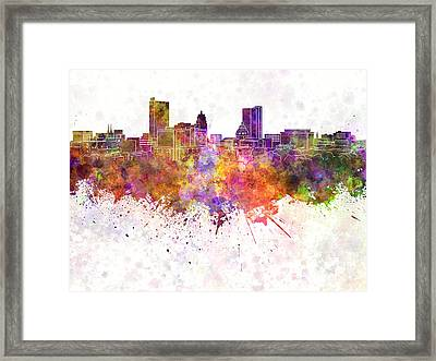 Fort Wayne Skyline In Watercolor Background Framed Print by Pablo Romero