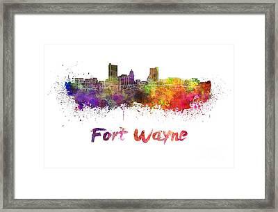 Fort Wayne Skyline In Watercolor Framed Print by Pablo Romero
