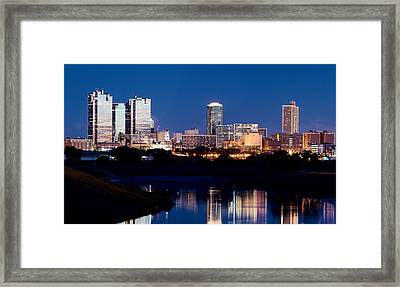 Fort Worth Skyline At Night Poster Framed Print