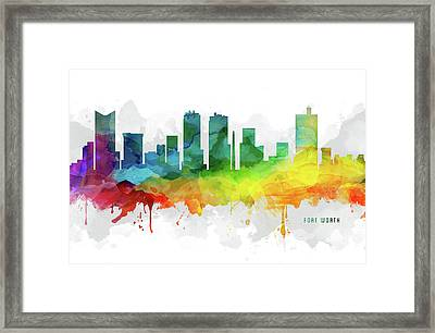 Fort Worth Skyline Mmr-ustxfw05 Framed Print by Aged Pixel