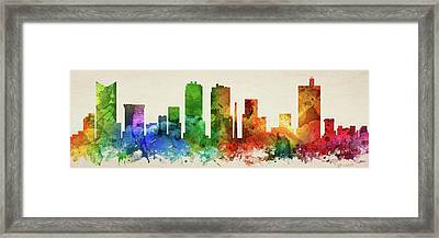 Fort Worth Skyline Panorama Ustxfw-pa03 Framed Print