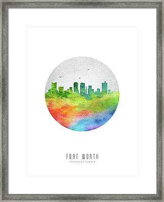 Fort Worth Skyline Ustxfw20 Framed Print by Aged Pixel