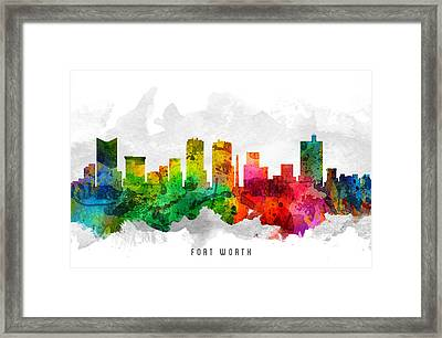 Fort Worth Texas Cityscape 12 Framed Print by Aged Pixel