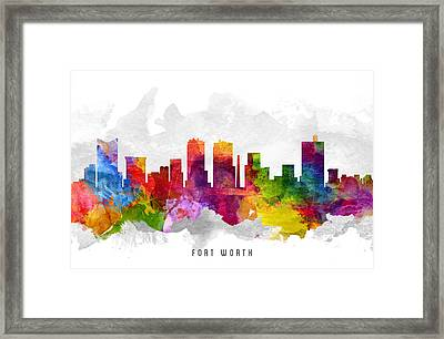 Fort Worth Texas Cityscape 13 Framed Print by Aged Pixel