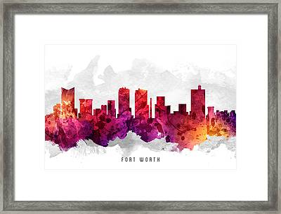 Fort Worth Texas Cityscape 14 Framed Print by Aged Pixel