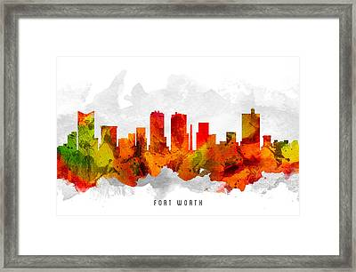 Fort Worth Texas Cityscape 15 Framed Print by Aged Pixel