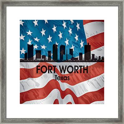 Fort Worth Tx American Flag Squared Framed Print