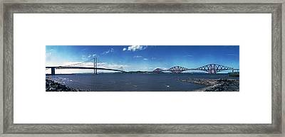 Forth Road And Railway Bridges Framed Print by Donald Buchanan