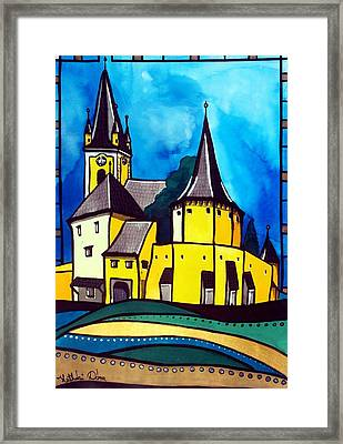 Fortified Medieval Church In Transylvania By Dora Hathazi Mendes Framed Print