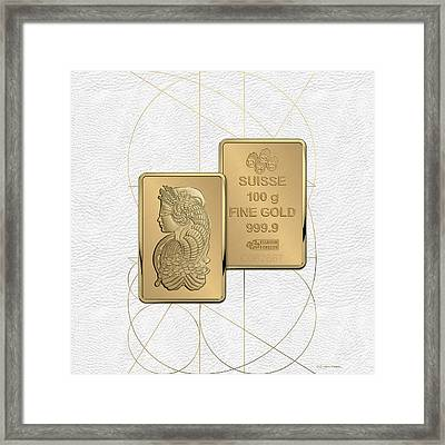 Fortuna Suisse Minted Gold Bar - Obverse And Reverse Over White Leather Framed Print
