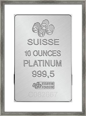 Fortuna Suisse Minted Platinum Bar - Reverse Framed Print