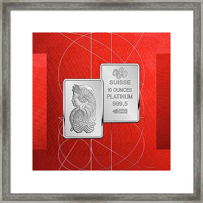 Fortuna Suisse Minted Platinum Bar - Obverse And Reverse Over Red Canvas Framed Print