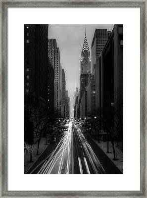 Forty Second Street Noir Framed Print by Kenneth Laurence Neal