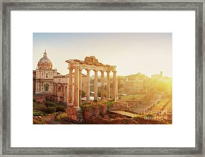 Forum - Roman Ruins In Rome At Sunrise Framed Print