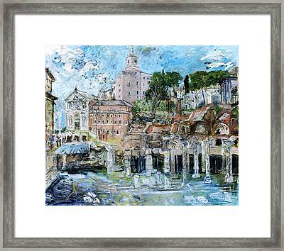 Forum Romanum Framed Print by Joan De Bot