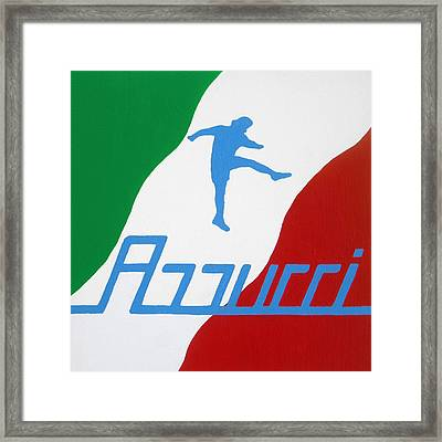 Forza Azzurri Framed Print by Oliver Johnston