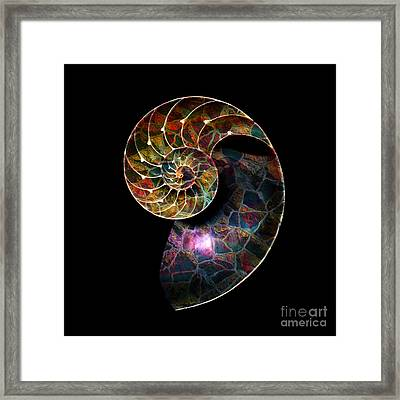 Framed Print featuring the digital art Fossilized Nautilus Shell by Klara Acel