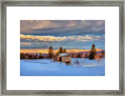 Foster Covered Bridge In Winter - Cabot, Vermont Framed Print