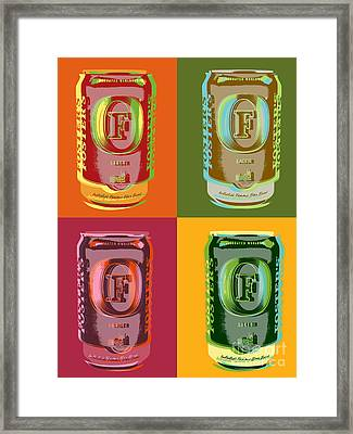 Framed Print featuring the digital art Foster's Lager Pop Art by Jean luc Comperat