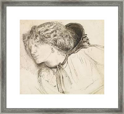 Found - Study For The Head Of The Girl Framed Print by Dante Gabriel Rossetti