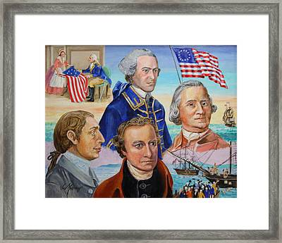 Founding Fathers Hancock Morris Henry And Adams Framed Print