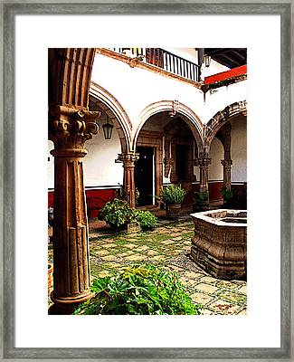 Fountain And Arches Framed Print by Mexicolors Art Photography
