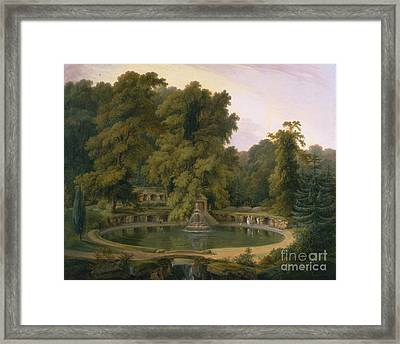 Fountain And Cave In Sezincote Park Framed Print by Celestial Images